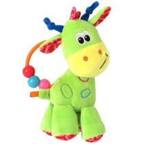 Chocalho de Pelúcia - 17 Cm - Girafinha do Bebê - Verde - Love -