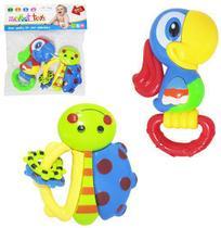 Chocalho moppet toys sortidos colors kit com 2 pecas - 20 Comercial