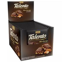 Chocolate Meio Amargo Tablete Talento Preto Amêndoas 90Gr C/12un - Garoto -