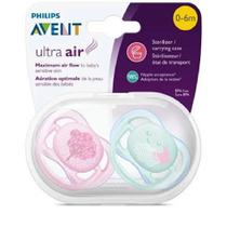 Chupetas Ultra Air 0-6m Decorada Rosa E Verde Avent Scf343/20 - Philips avent