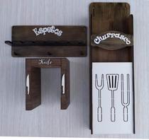 churrasco kit com 3 peças em MDF cortado à laser - New art
