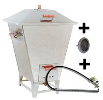 Churrasqueira à Bafo Inox Carvão Grande 20kg + Kit Gás + Termômetro - Churrascobrasileiro