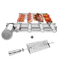 Churrasqueira Gira Grill Inox Kit Baixo 4 Espetos + Grelha - Sevefort
