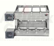 Churrasqueira Inox GiraGrill 7 Espetos Giratórios com 2 Andares e 2 Motores Bivolt - Artinoxgrill