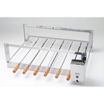 Churrasqueira Rotativa Simples Aço Inox com 6 Espetos 220v - Arke -