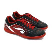 Chuteira Indoor Futsal Preta e Vermelha - Dsix - Dray artigos esportivos