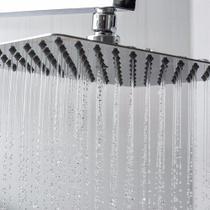 Chuveiro Inox Quadrado Suporte 20 Cm Ducha Slim Banheiro Braço Cromado Banho - Ideal