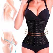 Cinta Faixa Modeladora Feminina Abdominal Afina Modela Cintura Redutora Reduz Medidas Abdômen - 25cm PRETO P - Mkb