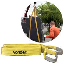 Cinta para Elevação de Cargas Vonder CE330 Capacidade de Até 3 Toneladas 3 Metros Poliéster Amarelo -