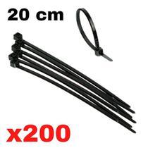 Cinta plastica 20 cm abraçadeira nylon preta 1,3 x 4,7 x 200 mm 200 unidades presilha plastica fita nilon - SDM ABRAÇADEIRAS