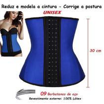 Cinta Redutora Modeladora Látex 9 Barbatanas Aço 30cm Azul - Fantasy Shopping Brasil