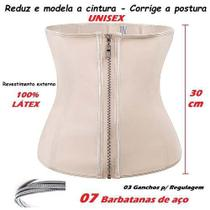 Cinta Redutora Modeladora Látex Afina Cintura 07 Barbatanas Aço com Zíper Unisex Creme - Fantasy shopping brasil