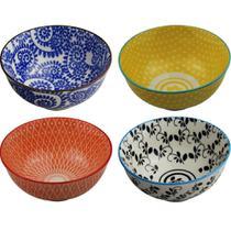 Cj 4 pcs bowls de porcelana colorido 12cm x 5,7cm - CEANELA