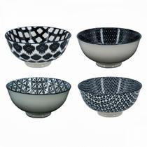 Cj 4 pcs bowls de porcelana preto e branco 12cm x 5,7cm - CEANELA