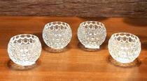 Cj 4 Porta Vela Castiçal Vidro Cristal Decorativo 7 X 7 Cm - Tiger Gifts