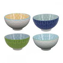 Cj de bowls de porcelana colorido decorativo 4 pcs azul-verde-branco - CEANELA