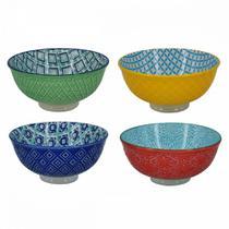 Cj de bowls de porcelana colorido decorativo 4 pcs verde-amaredo-azul-vermelho - CEANELA