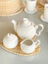 Cj porcelana para chá butterfly - branco - 3 pç - Bon Gourmet