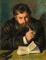 Claude Monet Lendo (1873) - Pierre-Auguste Renoir - 50x65 - Tela Canvas Para Quadro - Santhatela
