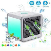 Climatizador Ventilador Portátil de Mesa com Lâmpada Colorida USB - BRANCO - Megafun