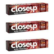 Close Up Ação Profunda Creme Dental Red Hot 90g (Kit C/03) -