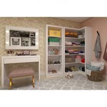 Closet Completo 2 Armários e Penteadeira com Espelho Camarim Mia Siena Móveis Branco -