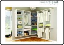 Closet Completo MDF Em L Casal Branco Fosco - Supercloset