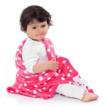 Cobertor bebê pink poá ovelinha - Loani