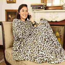 Cobertor Com Mangas Solteiro Onça Leopardo Fofinho - Pdv