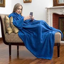 Cobertor com Mangas TV Solteiro Azul - Loani presentes