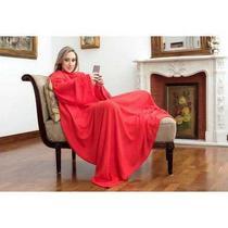 Cobertor com Mangas TV Solteiro Vermelho - Loani presentes