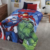 Cobertor com Sherpa Jolitex Solteiro Digital Avengers Vingadores -