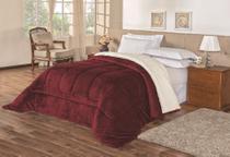 Cobertor dupla face queen size tipo coberdrom pele de carneiro 2,40m x 2,20m alto bloqueio termico - BELLA ENXOVAIS
