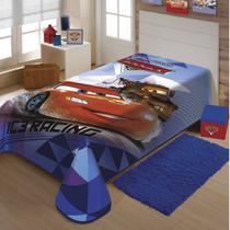 Cobertor Infantil Malha Carros Poliéster Jolitex 1,50mx2,00m Azul -