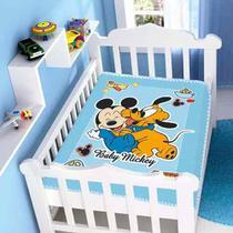 Cobertor Jolitex Infantil Berço Bebê Disney Mickey Divertido Azul -