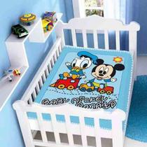 Cobertor Jolitex Infantil Berço Bebê Disney Mickey Donald Azul -