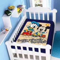 Cobertor Jolitex Infantil Berço Bebê Disney Mickey Donald Marinho -