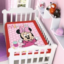 Cobertor Jolitex Infantil Berço Bebê Disney Minnie Patinhos Vermelho -