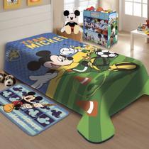 Cobertor Jolitex Solteiro Raschel Disney Mickey Futebol -