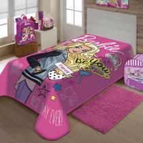 Cobertor Jolitex Solteiro Raschel Toque Macio Barbie Moda -