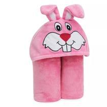 Cobertor Mangas E Capuz Infantil Coelha Rosa 102x127cm - Pdv
