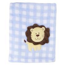 Cobertor Manta com Aplique Leãozinho Xadrez Azul Loani 2110 -