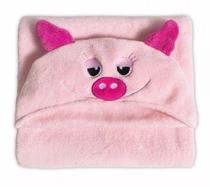 Cobertor Manta Microfibra Infantil 90X90 com Capuz Pig Rosa - Gihan e ahmad