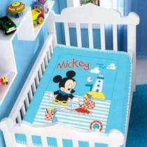 cobertor menino jolitex disney baby mickey barquinho azul -