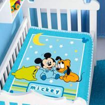 cobertor menino jolitex disney baby mickey e soninho azul -