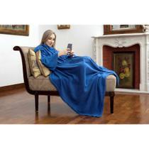 Cobertor Tv Com Mangas Solteiro 1.60x1.30m Azul - Loani -