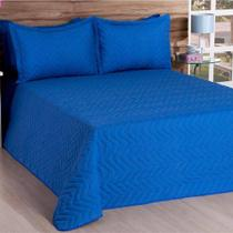 Cobre Leito Casal Deccoralle 03 Peças Liso C/ Matelado - Azul - Decoralle