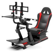 Cockpit Suporte p/ Volantes Simuladores de Corrida VE3 Estação Completa Banco Vermelho. - Extreme Simracing