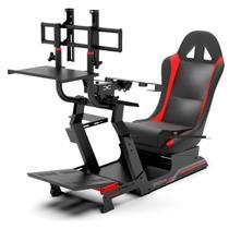 Cockpit Suporte p/ Volantes Simuladores de Corrida VE3 Estação Completa Banco Vermelho - Extreme Simracing