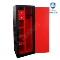 Cofre armário para 14 peças (06 longas e 08 curtas) ventura Carbono 150x42x42 Preto - Cofres Ventura